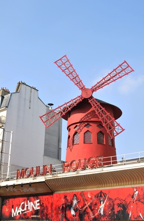 Paris, France - 28th March, 2011. Architectural detail of Moulin Rouge in Montmartre district, a well-known cabaret built in 1889 and one of the most famous touristic attractions in Paris nowadays.