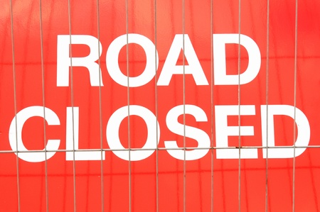 closed sign: Road closed Stock Photo