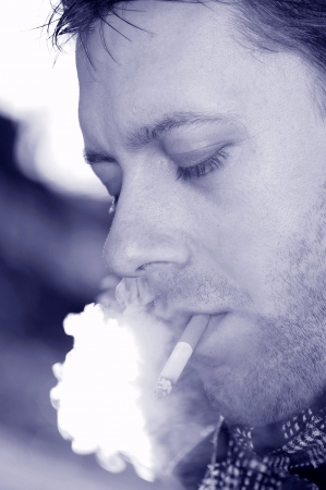 steam mouth: Smoker  Stock Photo