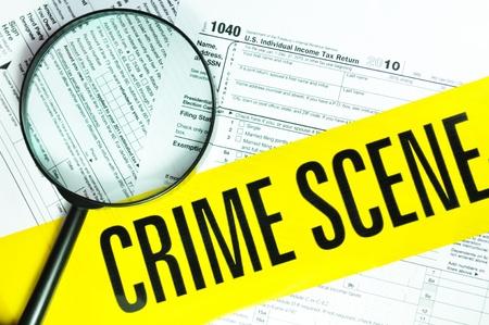 crime scene: El fraude fiscal Foto de archivo