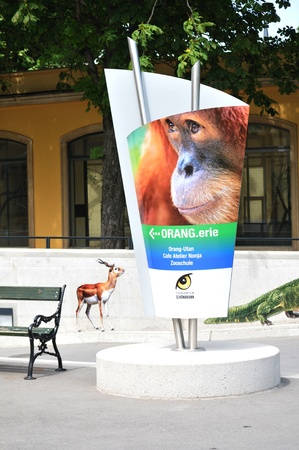 nbrunn: Vienna, Austria - July 8, 2011: Advert promoting new collection of animals available at Schonbrunn Zoo (Tiergarten Schönbrunn) the oldest zoo in the world