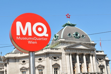Vienna, Austria - July 10, 2011: Touristic sign for Museum Quarter, one of the most important touristic destinations in Vienna