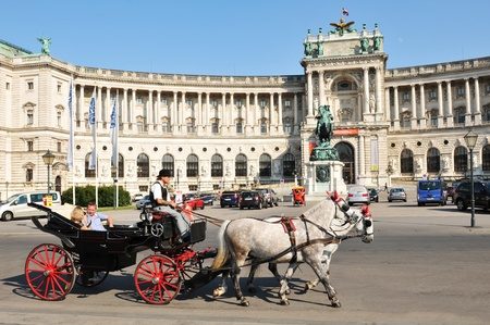 horse and carriage: Vienna, Austria - July 10, 2011: Tourists sightseeing from traditional carriage in front of the National Library in Vienna, Austria