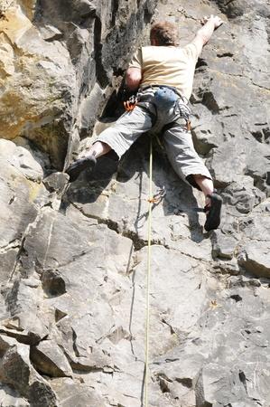 struggling: Climber  Stock Photo