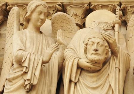 baptist: Architectural detail at Notre Dame, Paris (France) Stock Photo