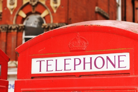 London, UK - 21 Sept, 2011: Detail of retro style red telephone booth on the streets of London