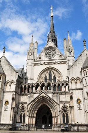London, UK - 14 Aug, 2011: Architectural detail of The Royal Courts of Justice, the building which houses the Court of Appeal of England and Wales and the High Court of Justice of England and Wales