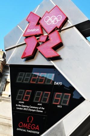 trafalgar: London, UK - 18 Nov, 2011: London 2012 Olympic Games official countdown in Trafalgar Square, London  Editorial