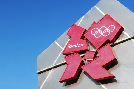 London, UK - 18 Nov, 2011: Official 2012 London Olympics logo against blue sky in Trafalgar Square, London  Editorial