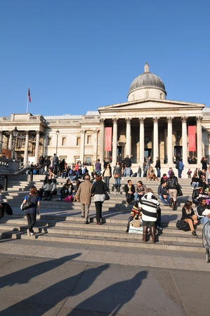 London, UK - 18 Nov, 2011: Tourists visiting National Gallery in Trafalgar Square