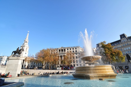 London, UK - 18 Nov, 2011: Architectural panorama of Trafalgar Square, London