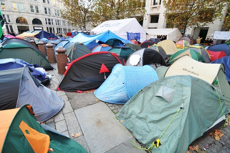occupy london: London, UK - 19 Nov, 2011: Occupy London protesters camp at Saint Paul