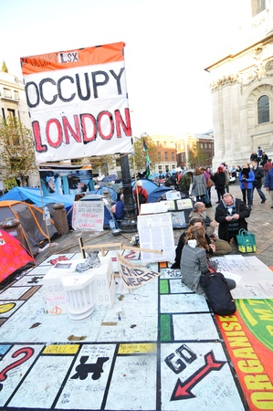 occupy london: London, UK - 19 Nov, 2011: Occupy London protesters in front of Saint Paul Cathedral