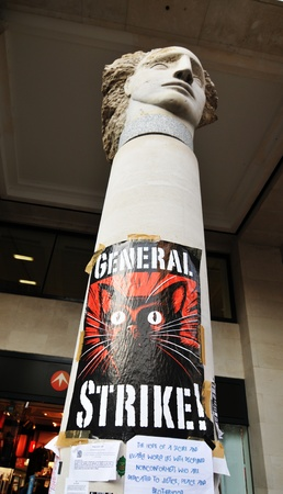 Picture taken in London, UK - 19 Nov, 2011: Occupy London protesters promote general strike  Stock Photo - 11829539