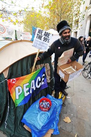 occupy london: London, UK - 19 Nov, 2011: Occupy London Saint Paul protesters call for general strike on 30 Nov