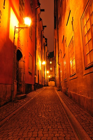 narrow street: Streets of Stockholm  Stock Photo