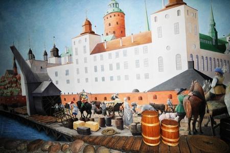 edad media: Estocolmo, Suecia - 12 de diciembre 2011: un paisaje medieval en los países escandinavos en exhibición en el Museo Vasa de Estocolmo Editorial