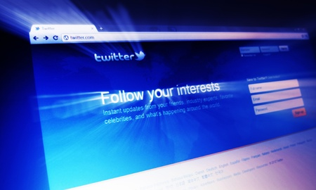 London, UK - 15 Jan, 2011: Abstract detail of Twitter, a famous online social networking service and microblogging service on laptop screen