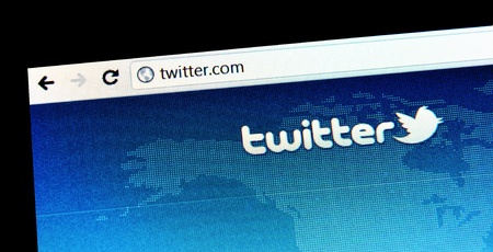 London, UK - 15 Jan, 2011: Abstract detail of Twitter, a famous online social networking service and microblogging service on laptop screen Editorial