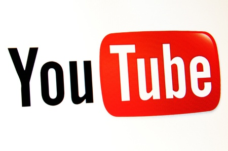 download music: London, UK - 15 Jan, 2011: Detail of YouTube logo on internet, the most famous video-sharing website