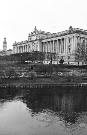 Stockholm, Sweden - 14 Dec, 2011: Architectural panorama of the Swedish Parliament in Stockholm