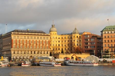 Stockholm, Sweden - 14 Dec, 2011: Architectural panorama of Stockholm at sunset
