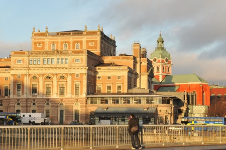 jacob: Stockholm, Sweden - 15 Dec, 2011: Architectural panorama of Stockholm Opera and Saint Jacob