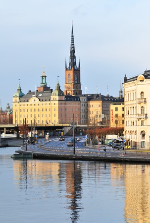 Stockholm, Sweden - 14 Dec, 2011: Historical buildings in Gamla Stan, the old town of Stockholm