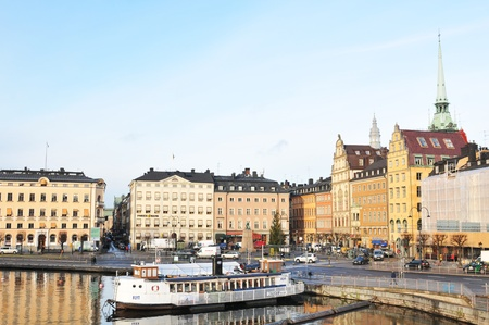 Stockholm, Sweden - 15 Dec, 2011: Architectural panorama of historical buildings on Stockholm