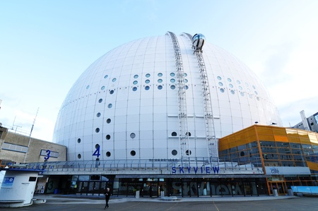 ericsson: Stockholm, Sweden - 15 Dec, 2011: Architectural detail of the Ericsson Globe, the national indoor arena of Sweden, located in the Johanneshov district of Stockholm (Stockholm Globe City). The Ericsson Globe is currently the largest hemispherical building  Editorial