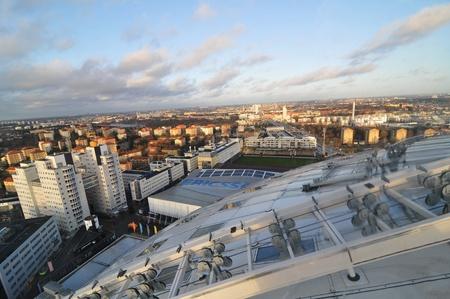 Stockholm, Sweden - 15 Dec, 2011: Aerial view of Stockholm captured from Ericsson Globe, the national indoor arena of Sweden
