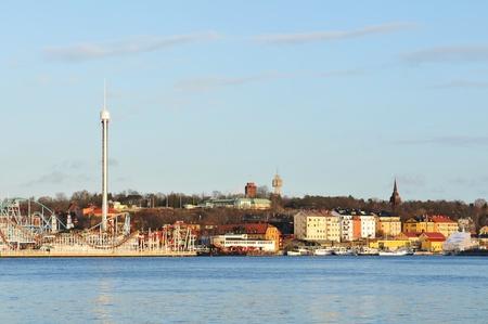 Stockholm, Sweden - 15 Dec, 2011: Panorama of Djurgarden, an island in central Stockholm hosting the amusement park Gr�na Lund