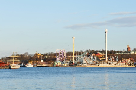 Stockholm, Sweden - 15 Dec, 2011: Panorama of Djurgarden, an island in central Stockholm hosting the amusement park Gröna Lund