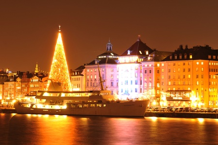 Stockholm, Sweden - 14 Dec, 2011: Night view of Stockholm quays at Christmas Editorial