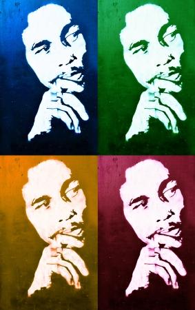 a bob: Copenhague, Dinamarca - 19 de diciembre 2011: Graffiti que representa Bob Marley en la Zona Verde de Copenhague