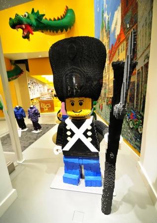 Copenhagen, Denmark - 18 Dec, 2011: Soldier made by Lego blocks in toy store in central Copenhagen