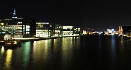 sea scape: Copenhagen, Denmark - 19 Dec, 2011: Night reflections of modern architecture in Copenhagen