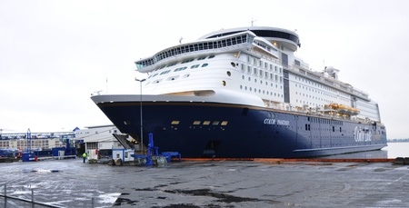 anchoring: Oslo, Norway - 16 Dec, 2011: Cruise ship preparations before departure from Oslo pier