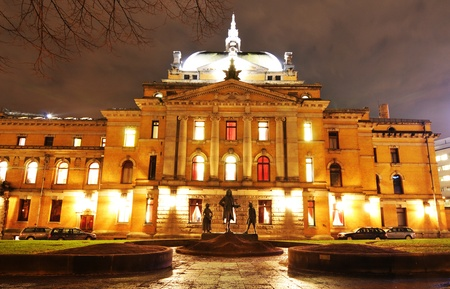 oslo: Oslo, Norway - 16 Dec, 2011: Night view of Norwegian National Theater in Oslo city center