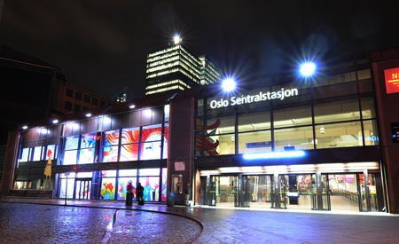 Oslo, Norway - 16 Dec, 2011: Central station in the Norwegian capital city at Christmas