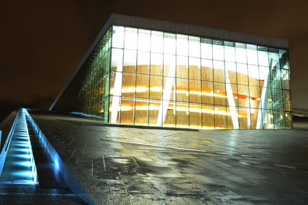 water scape: Oslo, Norway - 16 Dec, 2011: Night view of Opera House (Operahuset) reflected in Oslo bay Editorial