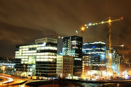 Oslo, Norway - 16 Dec, 2011: Night view of modern city under construction