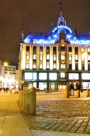 castle district: Oslo, Norway - 16 Dec, 2011: Night view of historical buildings in central Oslo at Christmas