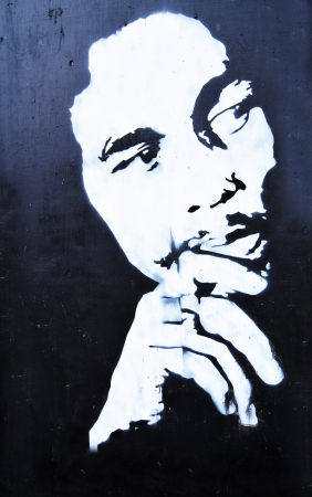 Copenhagen, Denmark - 19 Dec, 2011: Graffiti representing Bob Marley in the Green Light District of Copenhagen