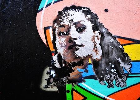Copenhagen, Denmark - 19 Dec, 2011: Abstract colorful graffiti detail in the Green District of Copenhagen