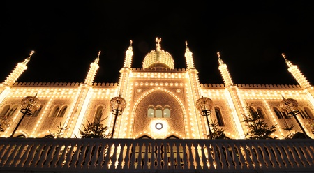 islamic scenery: Copenhagen, Denmark - 18 Dec, 2011: Oriental palace by night in Tivoli Gardens, Copenhagen