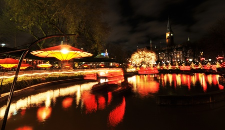 garden center: Copenhagen, Denmark - 19 Dec, 2011: Night view of famous Tivoli Gardens in Copenhagen at Christmas