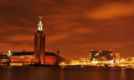 Stockholm, Sweden - 12 Dec, 2011: Night view of City Hall, one of the most important landmark in central Stockholm