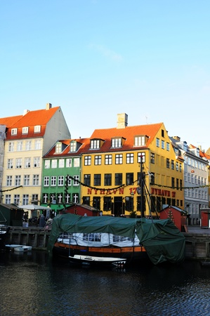 Copenhagen, Denmark - 19 Dec, 2011: Generic view of historical buildings and boats across the central channel in the Danish capital city