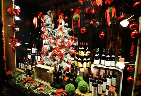 Copenhagen, Denmark - 18 Dec, 2011: Wine on display in window shop at Christmas in the Danish capital city  Stock Photo - 12272789
